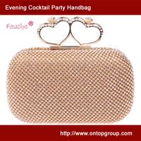 Rhinestone embellished heart knuckle ring evening bag women party handbag wedding clutch