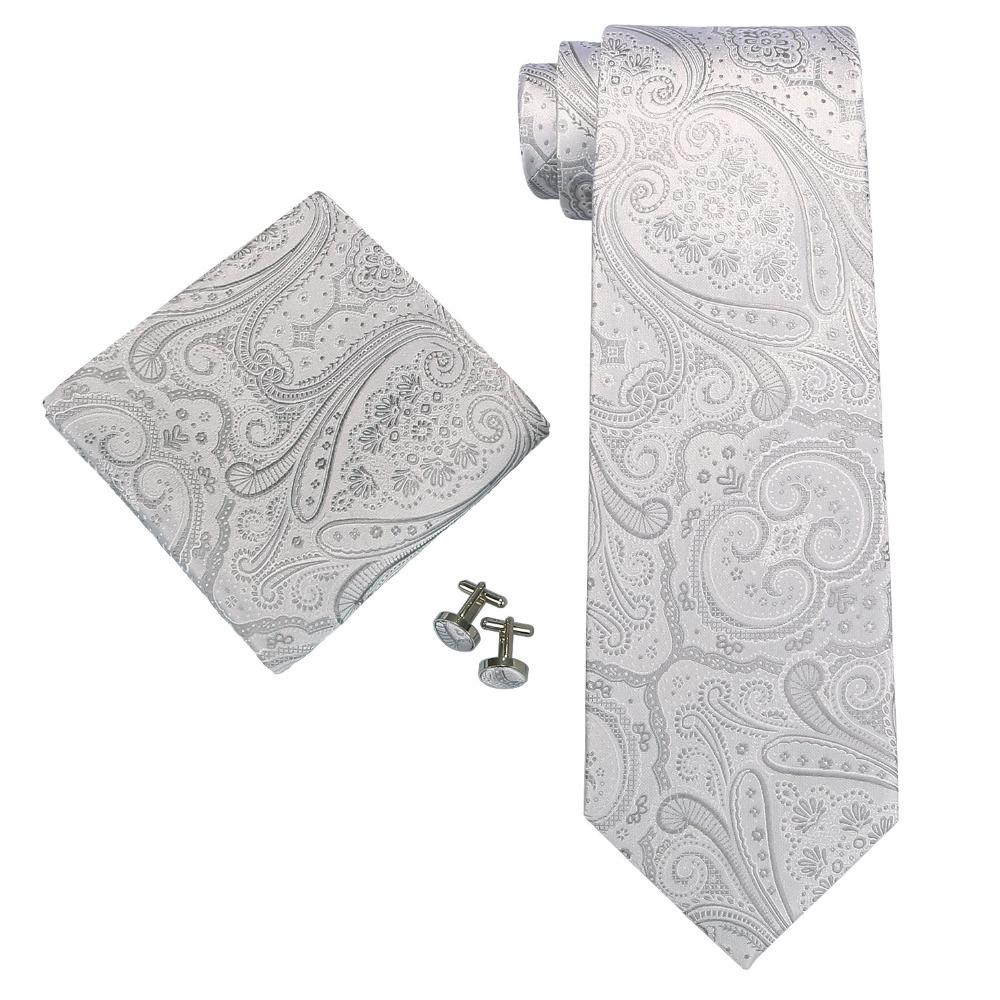 Landisun Fashion 21N Silver White Paisley Mens 100% Silk Neck Tie Set: Tie+Handkerchief+Cufflinks(China (Mainland))