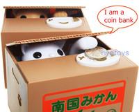 60pcs/lot Automated panda baboon pig dog mouse itazura cat steal coin piggy bank saving money box coin bank kids gift 7 models