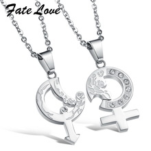 Casual NEW sale couple stainless steel crystal arrow  pendant necklace ,The arrow of Cupid 898