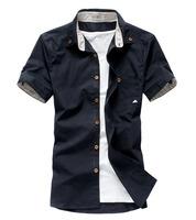 Top Brand 2015 Summer Men Shirts Short Sleeve Shirt Male Plus Size Slim Fit Blusas Steel Buckles Design Camisa Xasrez M-XXXL