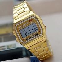 F-91W Metal watch Electronic watches LED watch ultra-thin wrist watch vintage sports wristwatch relogio Gold Drop shipping