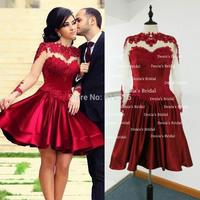 Free Shipping Real Image Vestidos Sheer Long Sleeves Short Dark Red Prom Dresses 2014