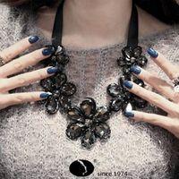 Hot Flower Crystal Gem False Collar Choker Chain Statement Necklaces & Pendants New 2014 Fashion Jewelry Women Wholesale N111