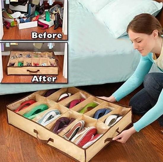 12Pairs Waterproof Shoe Storage Organiser Underbed Shoe Box Foldable Washable(China (Mainland))