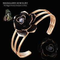 Neoglory Austria Crystal Gold Plated Flower Enamel Bracelets & Bangles for Women Fashion Charm Jewely Accessoris 2014 New Brand