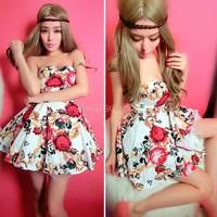 2014 new Fashion women cute print ball gown fancy tube top sleeveless dress flower print one-piece dress 2 Colors B11 SV002816