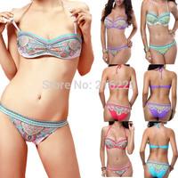 2014 Newest Fashion Sexy Women Floral Print Push Up Bandeau Padded Bra Bikini Set Boho Style Swimwear Swimsuit 2 Colors S/M/L