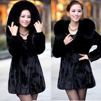 S-5XL 2014 Winter Luxury Faux Mink Fur Patchwork Velvet Women's Fur Coat Hooded Large Fox Fur Collar Medium-long Slim Overcoat