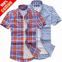 free shipping 2014 Summer Male Short-sleeve Slim Casual Plaid shirts Men's Hot Sale Top Brand Quality Dress Shirts 100% cotton
