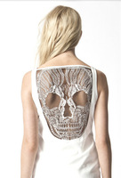 Free Shipping,Womens Fashion Punk Gothic Unique Hollow Back Fitness Vest Club wear Skull Dress S M L Wholesale    #C0755