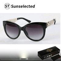 Free dropshipping 2014 Women's Vintage Sunglasses Cat eye Shape w/ Bold Metallic Temples Fashion Statement This Season sg205