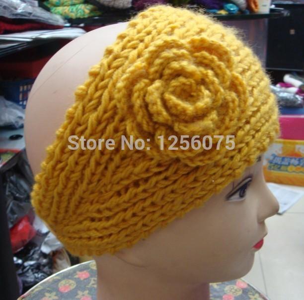 Womens Solid Fashion Big Flower Design Knitted Headband Crochet Headwrap Adjustable(China (Mainland))