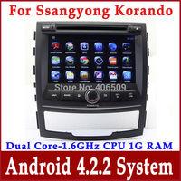 Android 4.2 Car DVD Player for Ssangyong Korando 2010 2011 2012 2013 with GPS Navigation Radio TV BT DVR 3G WIFI 1.6G CPU+1G RAM