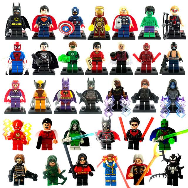 Hayret süper kahraman rakamlar 33pcs/lot klasik oyuncaklar yapı
