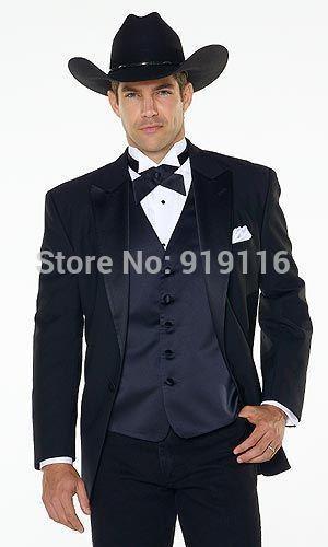 Bespoke Western cowboy style Men's Black peak lapel Groom wear /men's wedding tuxedo include(jacket+pants+tie)Vest Optional(China (Mainland))