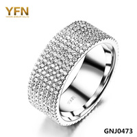 GNJ0473 New 2015 Fashion 925 Sterling Silver Jewelry Micro Pave Full CZ Eternity Engagement Ring Valentine's Gift For Women