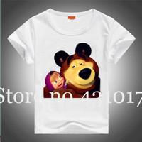 Retail 2014 summer Masha and Bear cartoon white color children t shirts 100% cotton kids t shirt boys clothes girl clothing