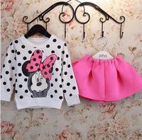Hu Sunshine wholesale new 2014 autumn girls cartoon print hoody + pants clothing set kids fashion clothes sets outfits