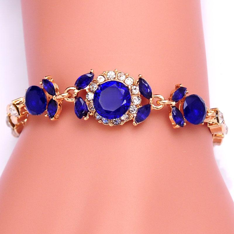Free shipping New Women 18k Yellow Gold Plated 3 Colors CZ Diamond Flower Austrian Crystal Bracelets & Bangles Jewelry Wholesale(China (Mainland))