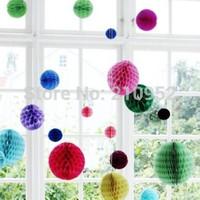 Free shipping 100pcs 8inches,20cm Honeycomb Lantern Paper Flower Balls Hanging Decoration, Wedding ,Party, Festival Decoration