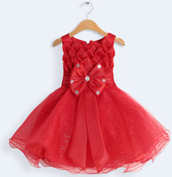2014 New Girl Christmas Costume Newborn Baby Birthday Party Dress Princess Toddlers Baptism Baby Girl Wedding Dress Clothes Red