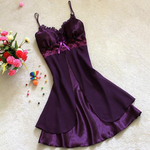 Summer Autumn Comfortable Silk Sleepwears Robes V-neck Pajamas Casual Sexy Lace Short Chiffon Nightgowns Nightdress For Women(China (Mainland))