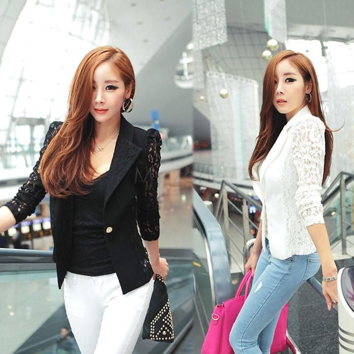 2014 New Women Lace Shrugs Ladies Formal Slim OL Formal Coat Jacket Blazer Suit Top Outwear Black White Size B003 18438(China (Mainland))