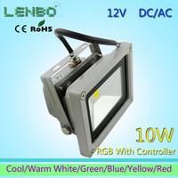 floodlight 4pcs/Lot 12V AC/DC  LED Flood Light 10W Warm White Outdoor Lights High Power LAMPS IP65 RGB Green Blue Yellow Red LW2