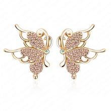 Vôo bonito da borboleta brincos de ouro 18k placa de cristal SWA Elemento Mulheres Brincos Austríaco de Bola 19 * 21 milímetros ER0075 -C(China (Mainland))