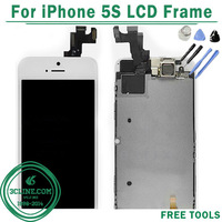 100% Original For iPhone 5S LCD Display Touch Screen Digitizer with Frame+ Home Flex Cable+Front Camera Free Shipping