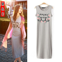 M&C S67 new 2014  fashion print letters knitted sleeveless maxi dress long cute