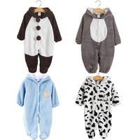 1pcs New Autumn And Winter Baby Cothes Animal Style Baby Rompers Climb Newborn Baby Cotton Fleece Jumpsuit  Infant Free Shipping