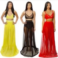New 2014 Women Celebrity Bodycon dress Ladies sexy party bandage dress long Chiffon Two pieces Dress YQ018 S M L XL XXL