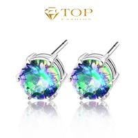 new 2014 brand stud earrings 925 sterling silver plated mystic topaz jewelry earrings for women floating charms  fire-sale