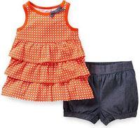 2014 Carters dress,Baby baby Girls dress , Baby Summer Wear, Ruffled dress , hot sell 2piece of 1set