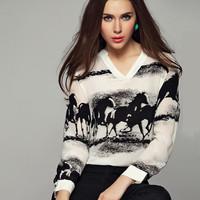 New arrival 2014 desigual sale Horse print V-neck long-sleeved white shirt gradient steam ahead tops brand blusas chiffon blouse