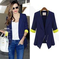 2015 Chic Formal Jacket Asymmetric Elegant Design Zipper Fitted Blazer For Women Half Cuff Patchwork Brand Print waistcoat nz36
