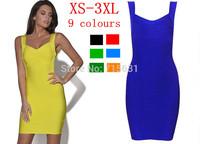 Fashion Women Sexy Club Dress New 2014 European Solid V-Neck Sleeveless Party Bodycon Bandage Dress 9 Colours Plus Size  XS-XXXL