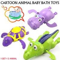 2014 Lovely Funny Wind Up Clockwork Dabbling Swimming 3 Cartoon  Animal Baby Bath Toys Kids Children Swiming Bath Water Toy