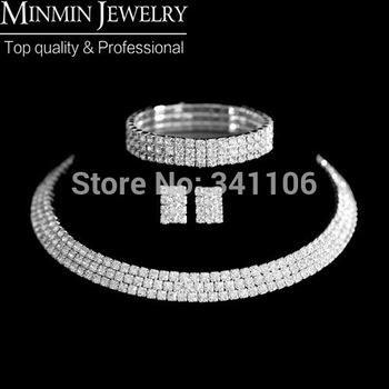 Three Rows Crystal NeckКружево + Earrings + Bracelet Bridal Jewelry Sets Свадьба ...