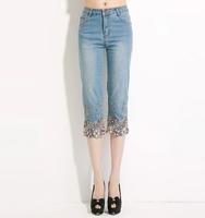 Ferzige Brand 2014 Embroidery Beading Elastic Waist Seven Socks Jeans Large Size 26-36 Women's 553 - Free Shipping
