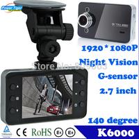 "Dash Cam Original Novatek K6000 Car Dvr 1920*1080P Full HD 2.7"" HD Screen+25FPS+G-Sensor+Night Vision Car Camera Video Recorder"