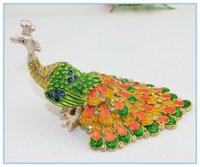 Wholesales Enamel handmade Peacock Jeweled Trinket Boxes Free Shipping
