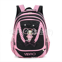 Free shipping 2014 Pinkme children's girls pink black double pocket bow primary school students backpack school bags