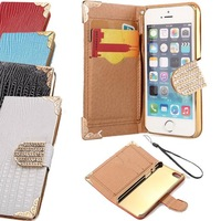 PU Leather Bling Shining Crystal Flip Wallet Case Cover for iPhone 5 5S Black Red White Blue