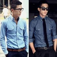 Men Jeans Shirt 2014 New Spring Slim Korean Men's shirt Brand Casual Fashion Long Sleeve Mens Denim Shirts For Male T581
