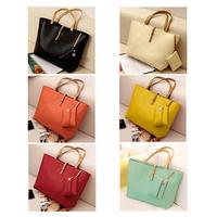 Promation! Hot! Vintage Simple PU Leather Bag Handbag Candy Color Fashion Lady Ladies Women'S Shoulder Bag Messenger Bags Tote