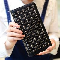 2014 New Luxury Punk Rivet Skull Zipper Wallet Coin Card Women Handbags Long Clutch Purse Bag Cell Phone Case For iphone Samsung