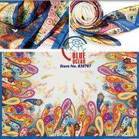 2014New Hot Sale Brand  Pattern Fashion Accessories Satin Big Square Women Scarf Printed,New Design Beige Silk Shawl 90*90cm